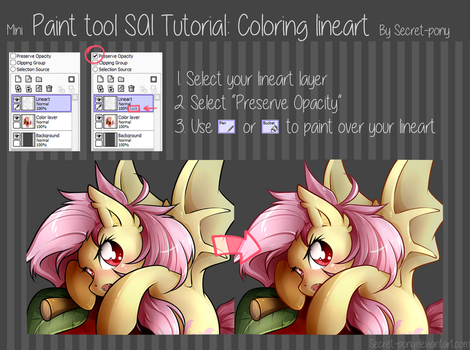 Paint tool SAI tutorial: Coloring Lineart by secret-pony