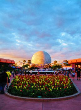 Spaceship Earth at Sunset by twrl11