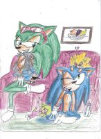 Sonic and Scourge babysit by Jiangshi-the-wolf