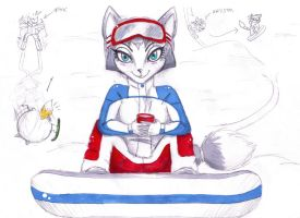 Krystal with snowboard and... by shiroiwolf