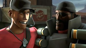 Scout and Demoman by LadyBonk