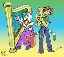 Harp and Tenor Horn by TromboneGothGirl84
