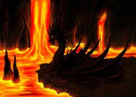 In magma cave by Niicchan