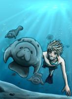 Manatee swim by HydroENKI
