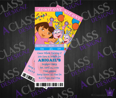 Dora Ticket Invite by aCLASSdesignz