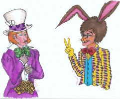 Disney Hatter and Hare by AtomykTickTock