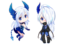 ELSWORD Chibi Demonio and Diabla by LightAppend