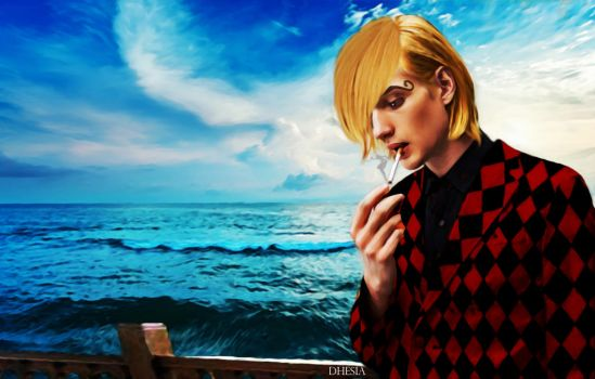 One Piece - Sanji black leg by Dhesia
