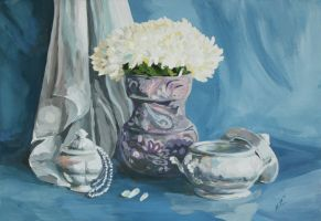 Still life with white flowers by MiracleAyano