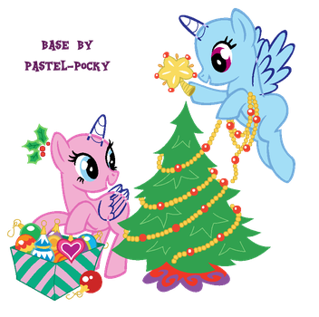 Cute holiday horses - MLP Base by Pastel-Pocky