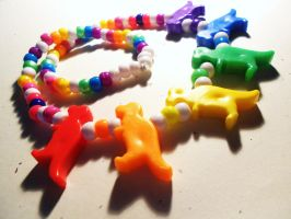 Rainbow T-Rex Parade by Lutrasaura