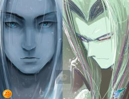 trunks vs Sephiroth fan art crossover by AtariBetch