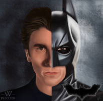 Christian Bale as Bruce Wayne and Batman (Drawing) by p-shdw