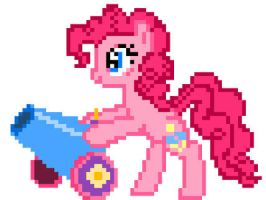 8-bit Pinkie and Party Cannon Sprite by ladypixelheart