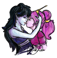 Marceline and Bubblegum - Kiss by Curly-Qs