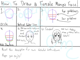 How to Draw a Female Manga Face in Six Steps! by MissChibiChild