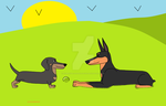 Shadow and Alphadoberman meeting: gift drawing by HomeOfBluAndshadows