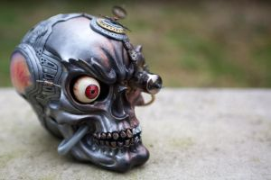 Steampunk Industrial Skull - Left Quarter by Devilish--Designs