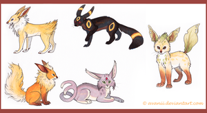 Eeveelutions by Avanii