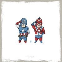 Little Friends-Captain America and Commander Steel by darrenrawlings
