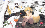 Kitsune girl in a nice hot spring-ish by tails206