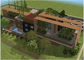 Sims 2 Modern Brown Hillside Tropical Mansion by RamboRocky