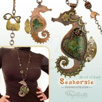 Seahorse Pendant Necklace - Heart of Emily by popnicute
