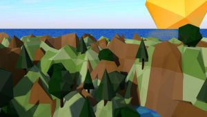 Low Poly Landscape - Sun, sea and mountains by cytherina