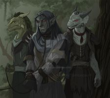 Argonians and Dunmer by VictoriaDAEDRA