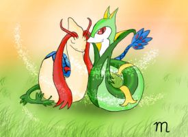 serperior and milotic by marsu305