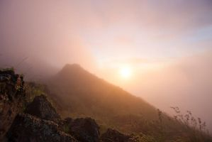 Misty Sunrise Mountain Stock by little-spacey