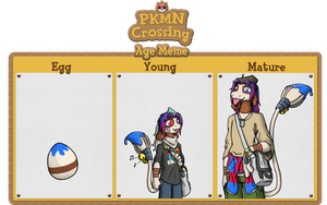 PkmnCrossing 3 life stages Iris by coyotepack