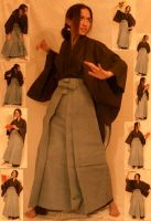 Yellow Hakama Pack - Standing2 by kuroitsuki-stock