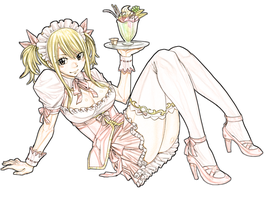 Fairy Tail - Lucy Heartfilia Maid Outfit Lineart by lolSmokey