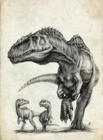 Giganotosaurus' family by AntarcticSpring