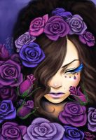 A Memory of Violet Roses by kagaminoir