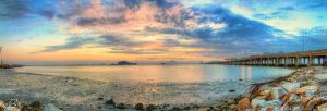 Sunrise view of Penang Bridge (Pano Style) by fighteden