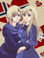 Mr and Ms NOR in Hetalia by krm1117