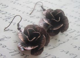 Copper Rose earrings by LKJSlain