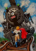 Power Girl Stops a Train by svettzwo