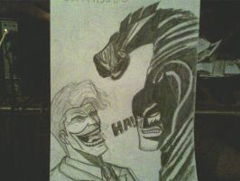 Dark Knight Returns batman vs joker by ThomasDrawsStuff