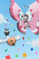 Vivillon and Fletchling by CODE-umb87