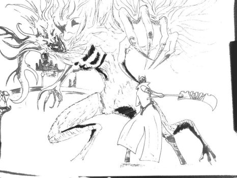 Bloodborne facing the clerical beast by Roneudson2705