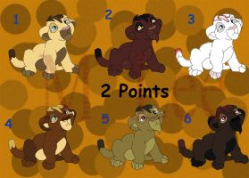 2 Point Tuesday:Lion Cubs Set Set 12(1 and 5 Open) by MLee-Adoptables