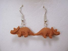 Triceratops Earrings by PoniesOfDOOOM