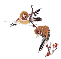 Two Raggedy Sparrows on Plum Blossoms by Cloudstrive