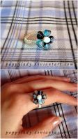 Blue hearts ring by PoppyLady