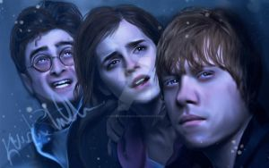 Harry Hermione and Ron by kristenmargina