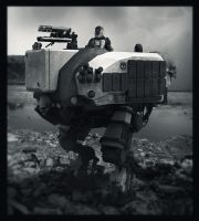 Transport biped mech b/w by LMorse