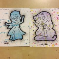 Elsa and Rapunzel paint splash by Thecarloswag